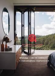 Ламинированные стеклянные наружные двойные двери, коммерческие двойное закаленное стекло алюминиевая раздвижная дверь