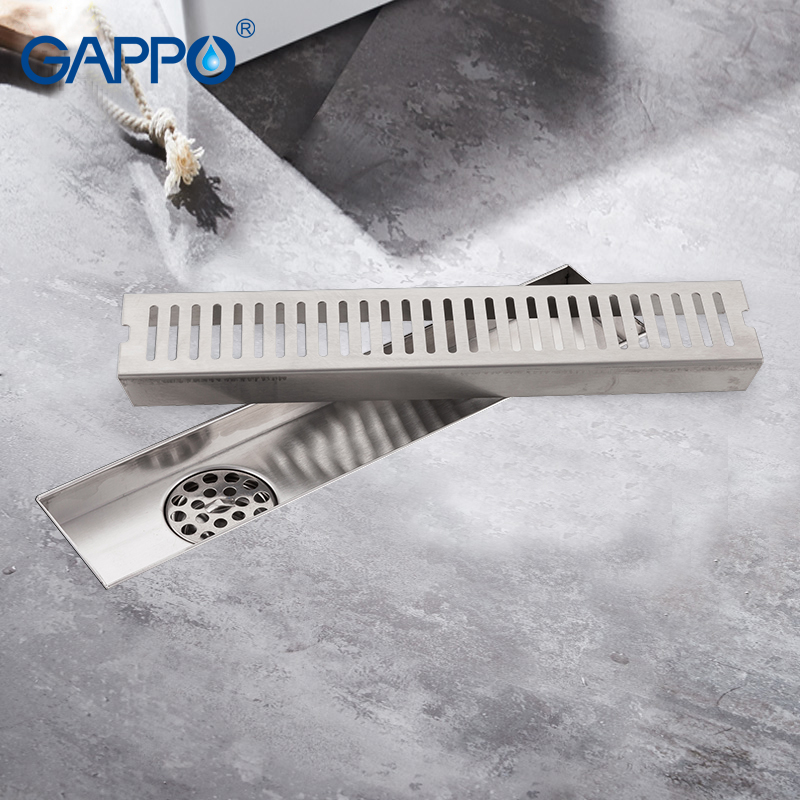 GAPPO Drains stainless steel recgangle linear floor drains anti-odor shower drain strainer bathroom waste drain luxury 304 stainless steel bathroom drains rectangle deodorization type bathroom linear shower floor drain srainer 600mm x 67mm