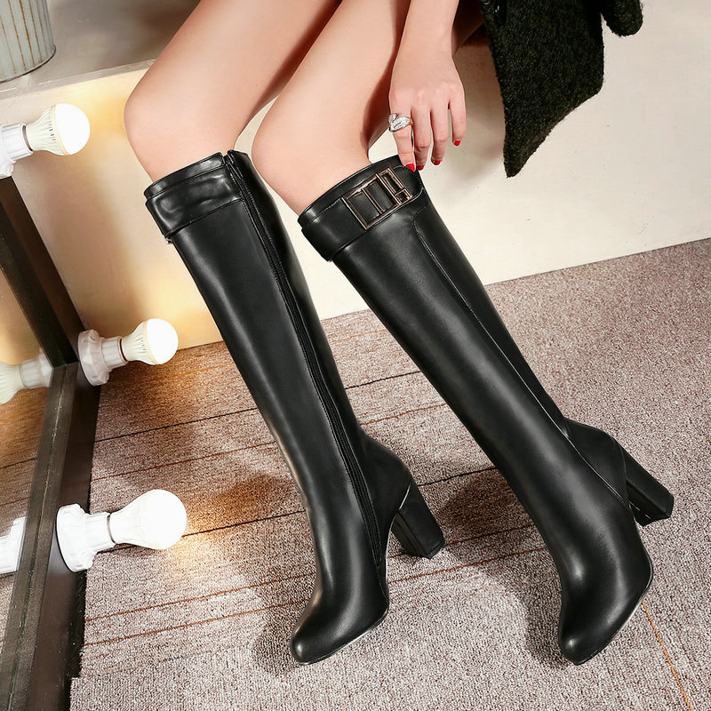 2018 Autumn Winter Fashion Knee High Heel Boots Women Pu Leather Thick High Heels Zipper Long Boots Woman Shoes White Black Red