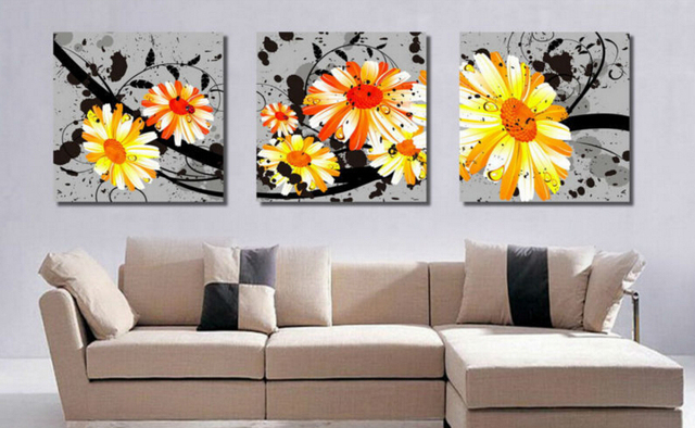 3 Panel Gray Background Yellow Flowers Print Paintings Pictures Living Room  Wall Art Pictures Print On