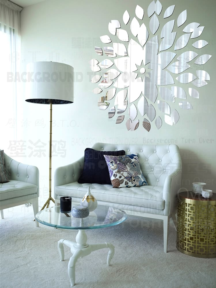 Diy mirror wall stickers acrylic mural sticker home - Wall sticker ideas for living room ...