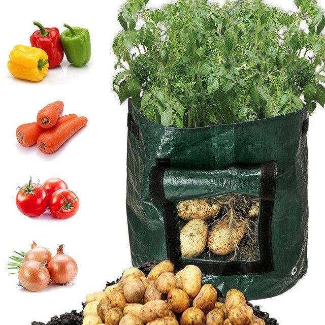 Vegetable Plant Grow Bag DIY Potato Grow Planter PE Cloth Tomato Planting Container Bag Thicken Garden Pot Garden Supplies