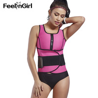 FeelinGirl Neoprene Waist Trainer Women Sauna Vest Workout Sweat Shaperwear Plus Size Belly Control Body Shaper Slim Underwear E