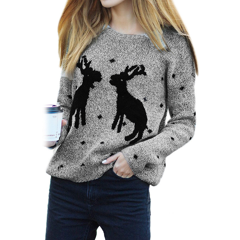Winter sweater for women 2017 pull femme hiver winter long pullover women loose collar Christmas pullovers lady Female tops