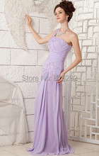 New Light Purple A Line One Shoulder Beading Sleeveless Floor Length 2015 Chiffon Prom Gown Long