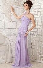 Neue Licht Lila A-Line Eine Schulter Ärmellose Bodenlangen 2015 Chiffon Abendkleid Lange Abendkleider