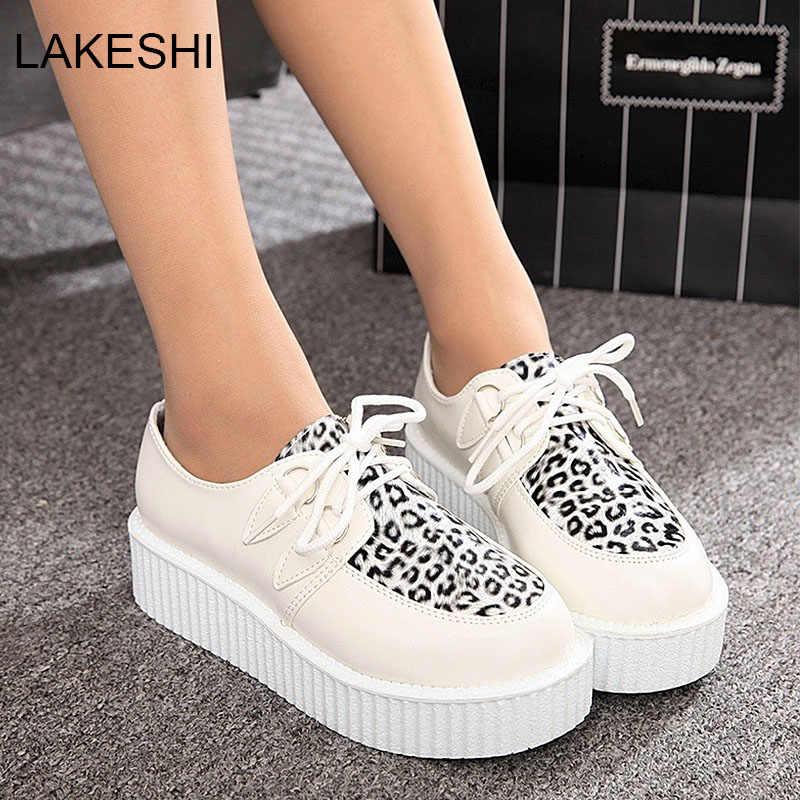 Moda Creepers plataforma zapatos mujer pisos negro Casual Suede señoras zapatos con cordones Creepers calzado femenino de talla grande 41