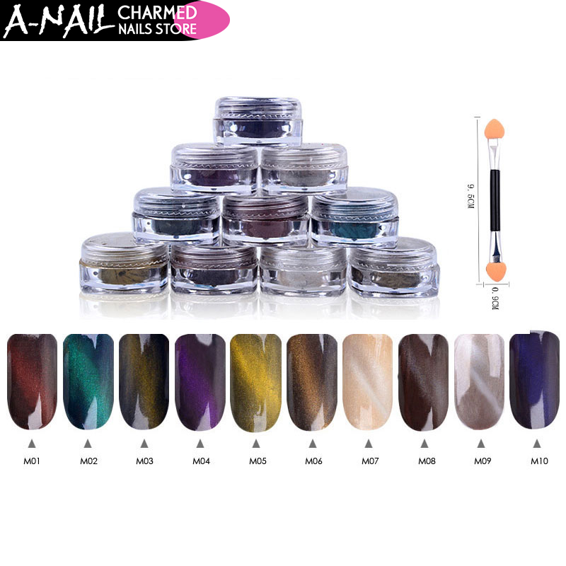 12boxes/set 1g Perfect Cat Eye Effect Magic Mirror Powder UV Gel Polish Nail Art Magnet Glitter Pigment DIY Nail Decoration 4pc magic mirror powder dust nail glitter diy nail art tips sequins chrome effect pigment nail art decoration tools