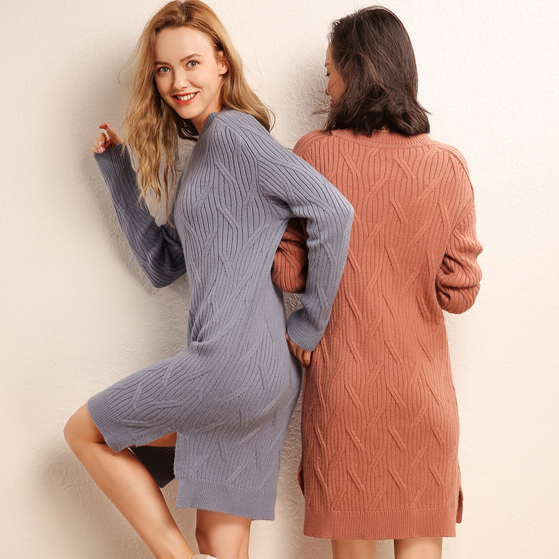 HZYRMY New Women 39 s Cashmere Dress Autumn Fashion O collar Quality Solid color Long skirt Winter Warm Loose Wild Female Sweater in Pullovers from Women 39 s Clothing
