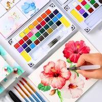 BGLN 18/24/36 Цвет одноцветное Рисование акварелью комплект коробка с водой кисти яркий Цвет Портативный воды Цвет набор краски товары для рукод...