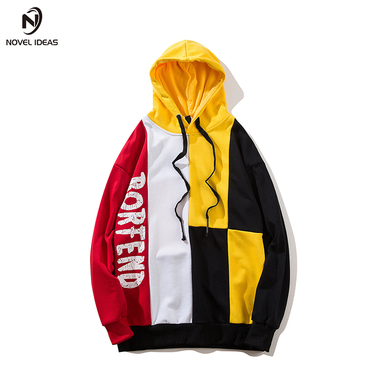 Hombres Color 2018 Hoodies Patchwork Hombre Otoño Calle Con amarillo  Púrpura Hip S Sudaderas Us Casual Pullover Capucha Bloque Impreso Hop  Creativo fwq0YdY 82d0e7a4271