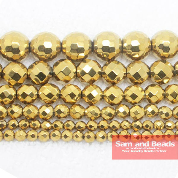 """Free Shipping Natural Stone Faceted Gold Hematite Beads 4 6 8 10 MM 16"""" Per Strand Pick Size No.HB55"""