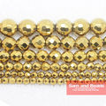 "Free Shipping Natural Stone Faceted Gold Hematite Shamballa Beads 4 6 8 10 MM 16"" Per Strand Pick Size No.HB55"