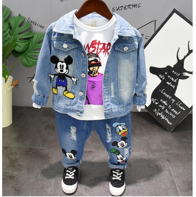 Jeans Jacket Spring Suit Boy's Fashion Children's Hole Thin Autumn And