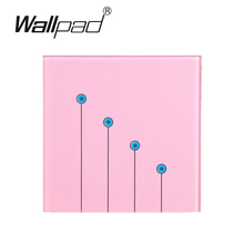Pink LED Waterproof  touch light switch,Wallpad 4 gangs 1 way wall switch touch 110V~220V, Free Customize LOGO,Free Shipping new arrival 2 gangs 1 way crystal glass led black diy touch light wall switch touch switch free customize words free shipping