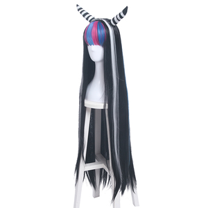 Image 2 - L email wig Danganronpa Mioda Ibuki Cosplay Wigs Long Mixed Color Straight Cosplay Wig Halloween Heat Resistant Synthetic Hair