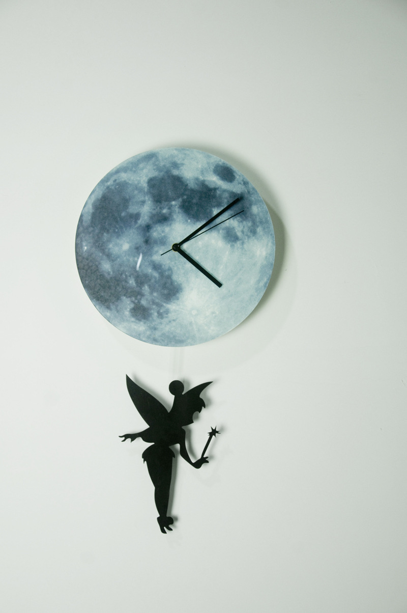 Funlife fairy glowing moon pendulum clockglow in the dark moon funlife fairy glowing moon pendulum clockglow in the dark moon wall clock home decorquartz silence for bedroom30cm in wall clocks from home garden on amipublicfo Images