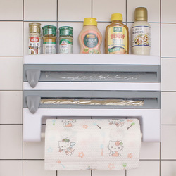 4 w 1 uchwyt kuchenny do przechowywania półka przechowywanie folii spożywczej uchwyt ścienny do zawieszenia z papieru uchwyt na ręczniki owinąć folią Cutter organizer do kuchni w Półki i uchwyty od Dom i ogród na