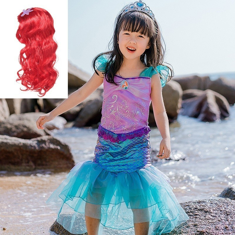Baby Girls The Little Mermaid Tail Ariel Princess Dress Child Cosplay Costume Kids wig Christmas new year wig party birthday