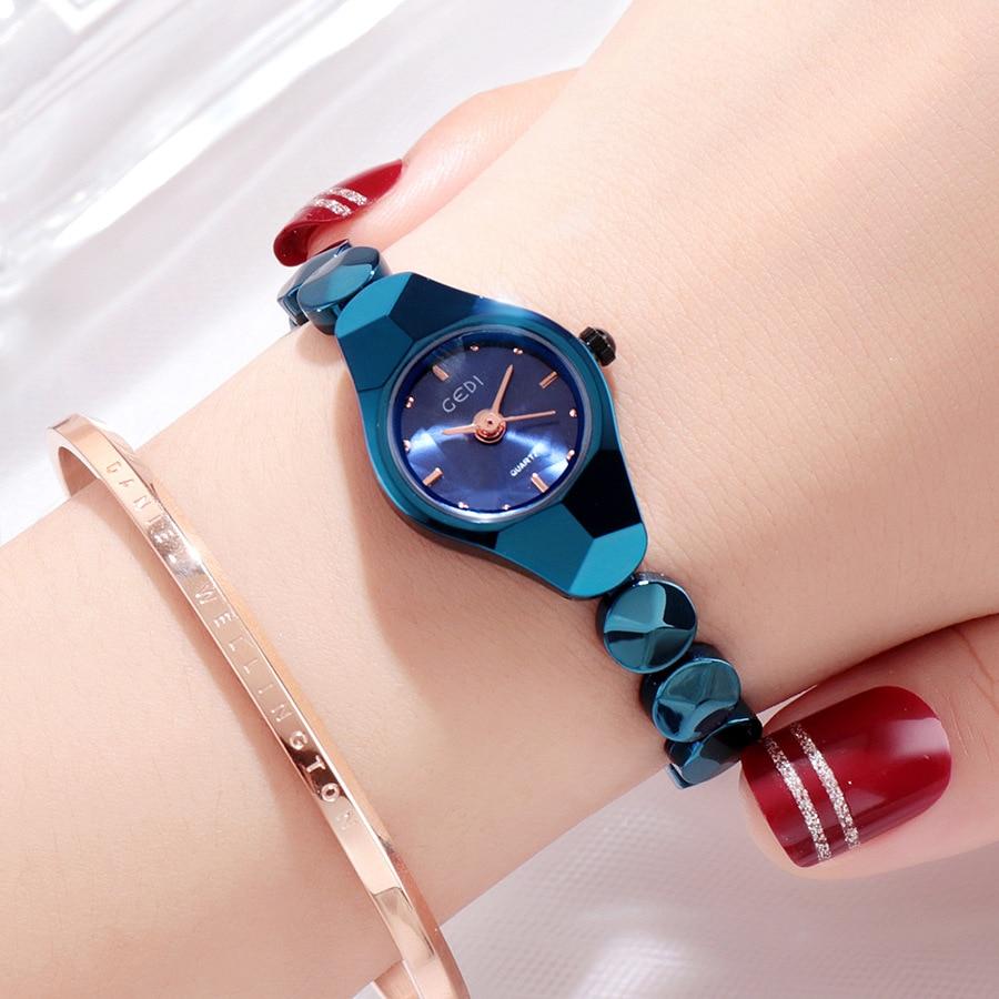 Fashion Brand Casual luxury watches Sapphire Blue rose gold Steel watch female quartz watch waterproof Woman watch
