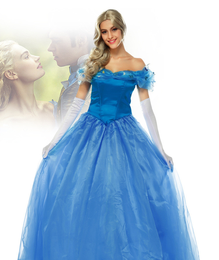 2018 Deluxe Adult Cinderella Princess Costume Fairy Tale Ladies Fancy Dress Ball Gown Women Blue Dress