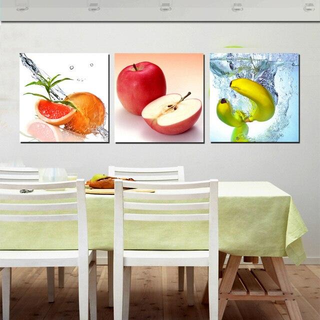 US $8.76 52% OFF|3 Panel Kunst Decor Wandbilder Frisches Obst Gemälde  Gedruckt Leinwand für Küche Esszimmer Decoracion Kein Gestaltet in 3 Panel  Kunst ...