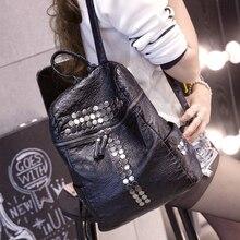 2017 nouvelle mode rivet PU sacs en cuir femmes Corée style en cuir lavé sac d'épaule de loisirs voyage filles
