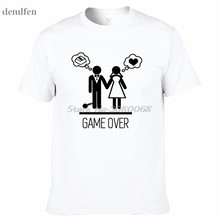 35969292 Couples : Game Over Wedding Marriage Novelty Design T-shirt Fashion Casual  Summer Short Sleeve Cotton Tshirt Hip Hop Tees