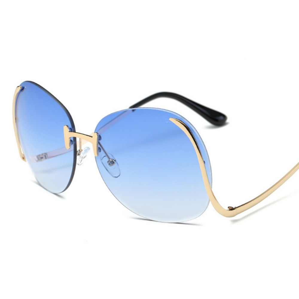 86d8c524c5 ... Gradient Sunglasses Women Oversized Oval Shape Rimless Clear Lens Optics  Metal Vintage Sun Glasses Frame Retro ...
