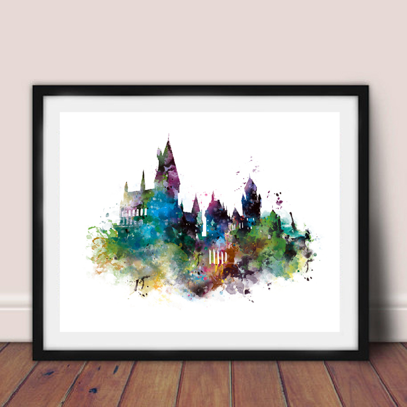 Watercolor Castle Art Canvas Painting Wall Picture , Harry Canvas Prints Watercolor Castle Poster Kids Room Decor