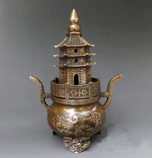 copper light incense ornaments tower furnace incense sandalwood Home Furnishing Feng Shui decoration antique collectio