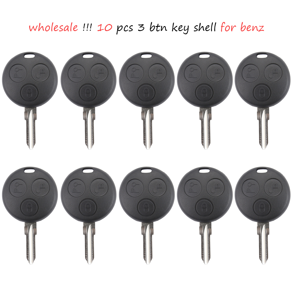 Wholesale 10 Pcs 3 Button Replacement Remote Head Car Key Shell For Mercedes Benz Smart City