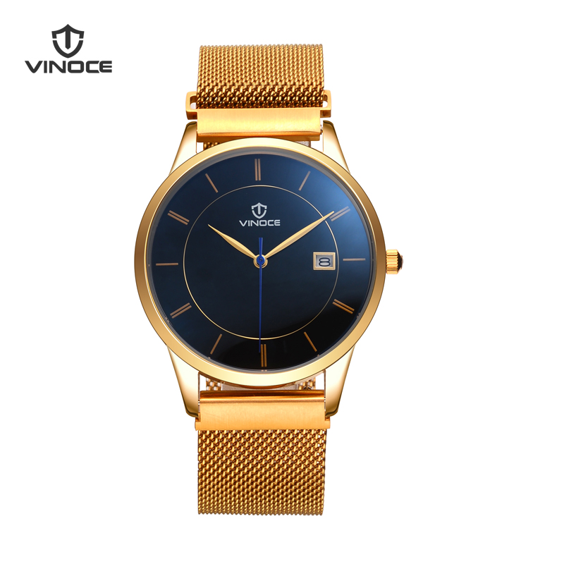 Relogio Masculino VINOCE Mens Watches Top Brand Luxury Fashion Business Quartz Watch Clock Men Sport Steel Waterproof Wristwatch xinge top brand luxury leather strap military watches male sport clock business 2017 quartz men fashion wrist watches xg1080
