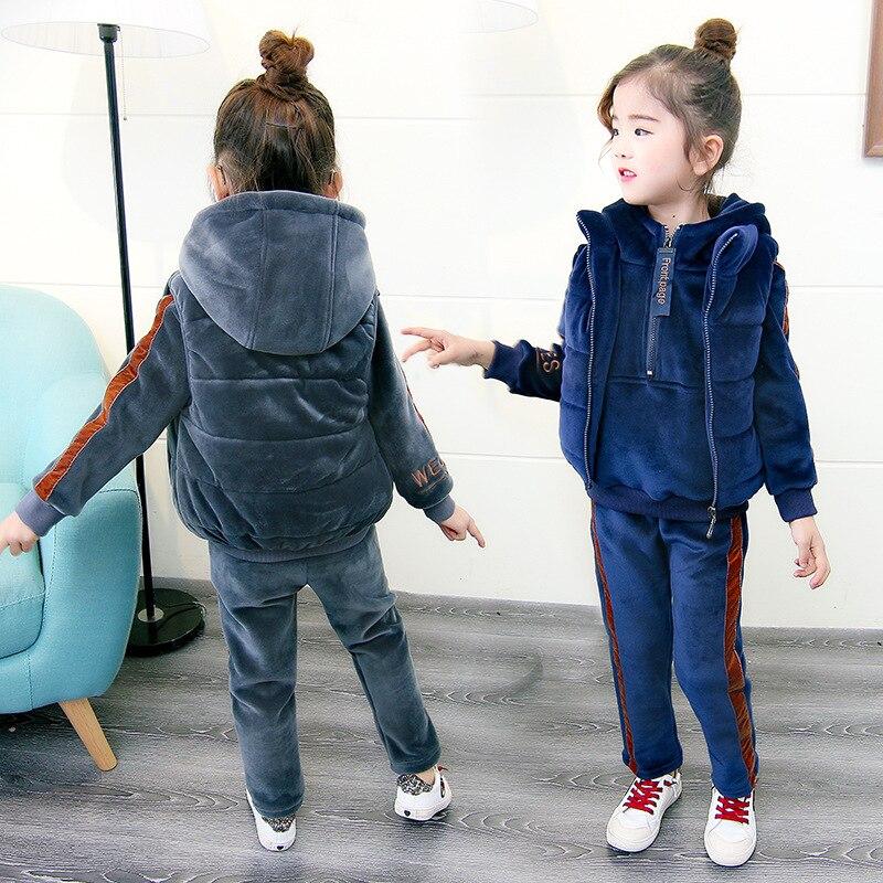2018 Winter Children's Thickening Clothing 3 Pcs Set Kids Cotton Padded Clothes Girls Velvet Vest Coat + Sweatshirt + Pants A717 шапочка для плавания madwave madwave ma991dkamnb2