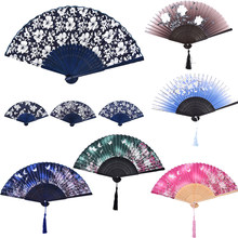 Women Dancing Hand Fans Decor Chinese Silk Flower Butterfly Folding Hand Fan Pocket Fan Birthday Party Decoration Favors Gift(China)