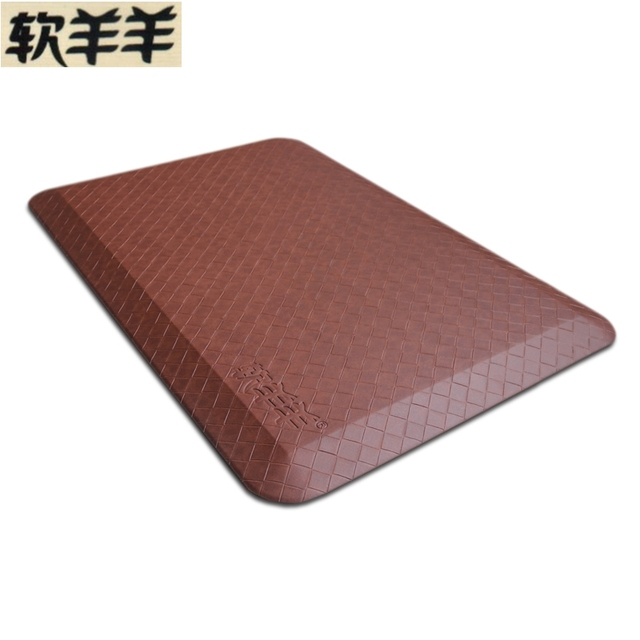 Health Foot Massage Cushion High Resilience Polyurethane Leather Carpets  Kitchen Rug Anti Fatigue Floor Mat
