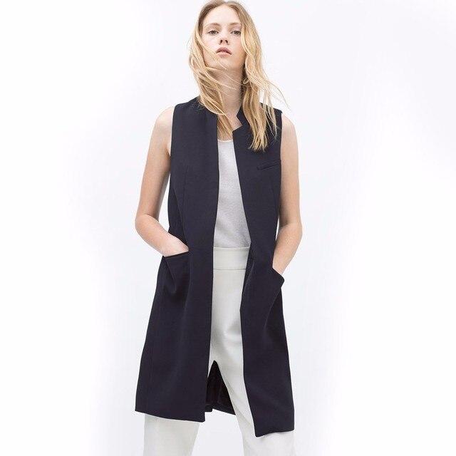 White Black Office Long Sleeveless Blazer 2017 Spring Fashion Vest Women Stand Collar Waistcoat Casual Jacket Colete Feminino