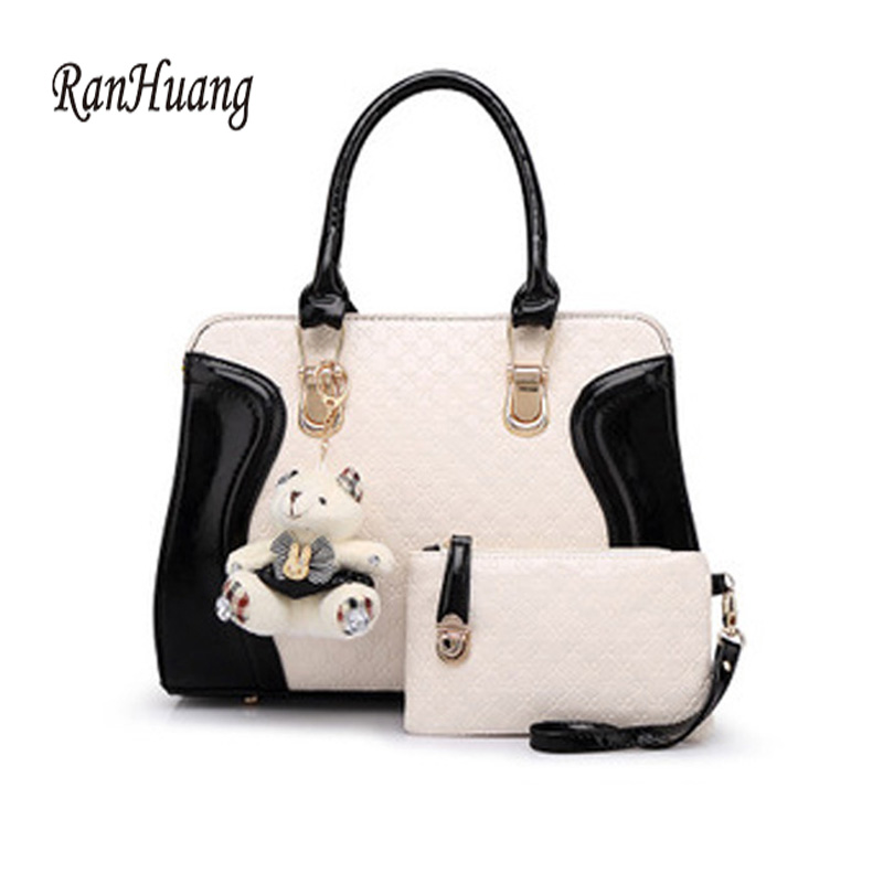 ФОТО RanHuang 2017 Women PU Leather Handbags Fashion Patchwork Leather Messenger Bags Ladies Cute Shoulder Bag with Plush Bear A115