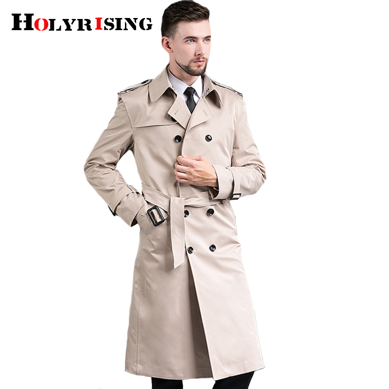 Men Long Trench Coat Spring And Autumn New Double Breasted Europe Style Trench Coat Men Pea Coat Gentleman Top Jackets 18771-5