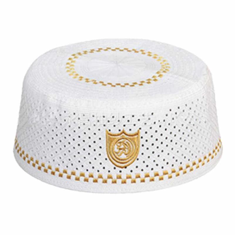 ba8257ac952 ... Mens Muslim Islamic Prayer Hats Turkish Skull Cap Indian Hat Topi Kufi Islamic  Prayer Namaz Beanie ...