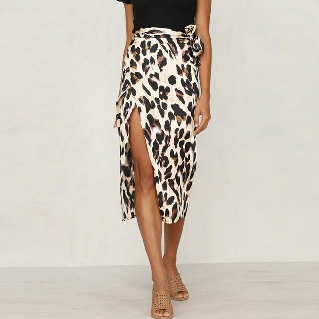 Fashion Women Sexy England Leopard Printed Split Bandage Evening Party Skirt 1