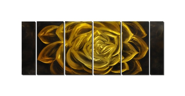 Gold Flower Aluminum Wall Art Original Large Abstract in out door ...