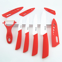 Kitchen Ceramic Knife Sets 3 4 5 6 Inch Peeler Red Color Ceramic Paring Knife Set