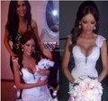 Mejor Venta Apliques de Encaje Sirena Vestidos de Novia de Cintura Alta de Long Tight Gows Nupcial Con El Tren Vestido Para Casamento Barato