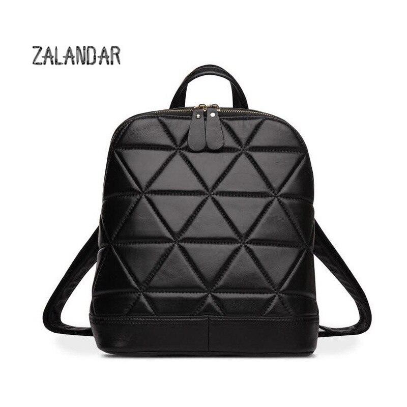 ФОТО ZALANDAR Designe Women Backpack Genuine Leather Female Backpack Women Schoolbag For Girls Large Capacity Shoulder Travel Bag