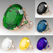 Luxury Female Big Black Blue Green Stone Ring Fashion 925 Silver Zircon Wedding Rings For Women Bridal Love Engagement Ring(China)