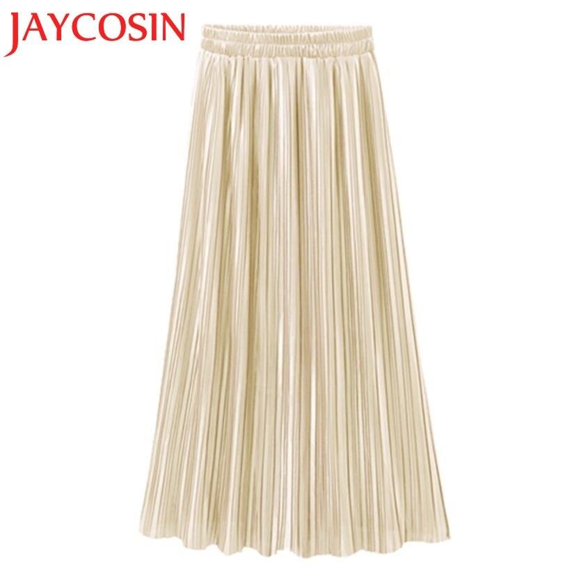 JAYCOSIN 2018 Frauen Vintage Casual Hohe Taille Lange Feste Mode Täglichen Plissee Rock röcke frauen Dropshipping Juli 18