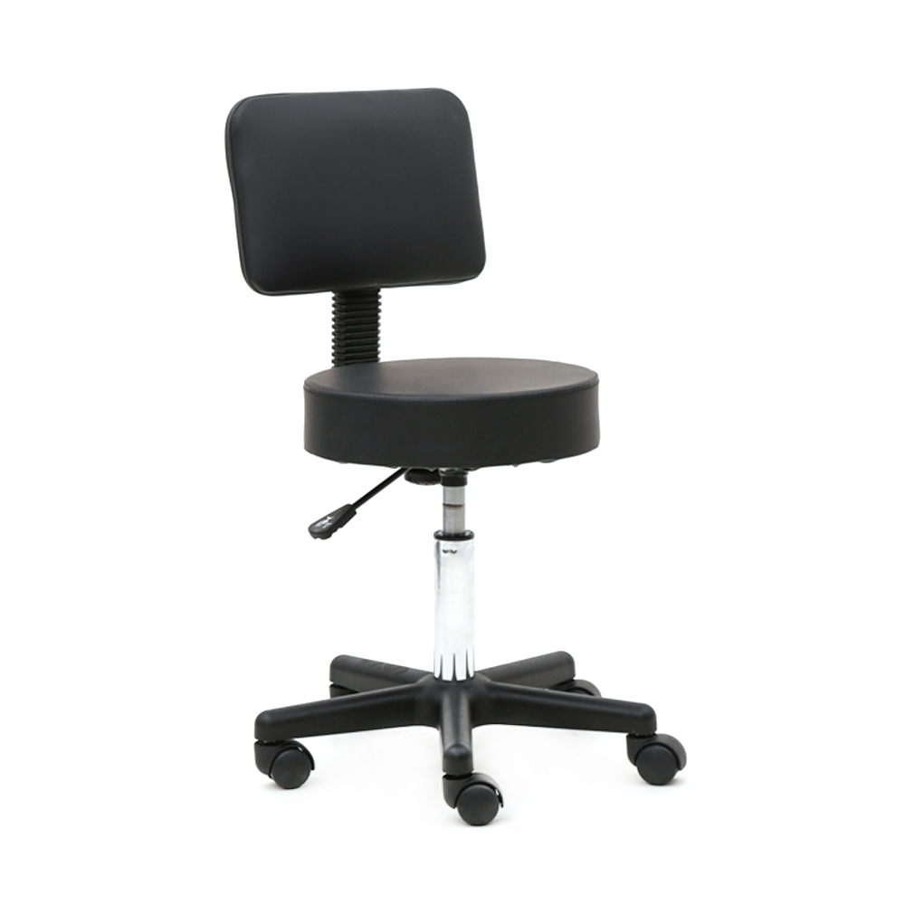 US Round Shape Plastic Adjustable Salon Stool Bar Chair With Back Black Dropshipping