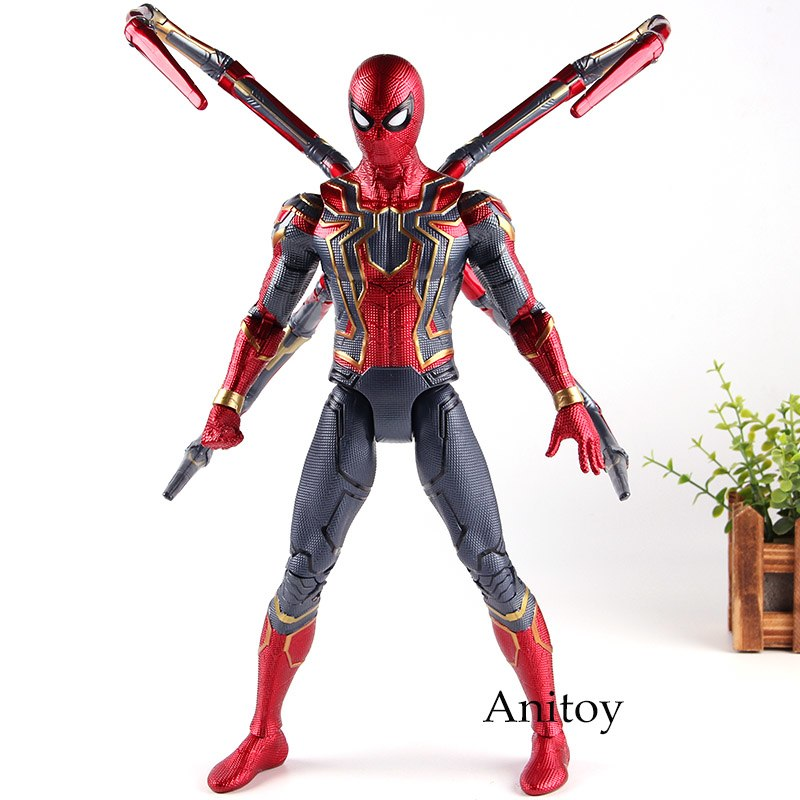 купить Avengers Infinity War Marvel Legends Spiderman Action Figures Iron Spider Man PVC Collection Model Toys with Lighting Eyes 36cm недорого