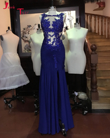 Jark Tozr Robe De Soiree Beading Appliques Pleated Slit Skirt Royal Blue Chiffon Formal Evening Gown